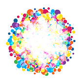 colorful  bright circles. rainbow colors spotted vector background