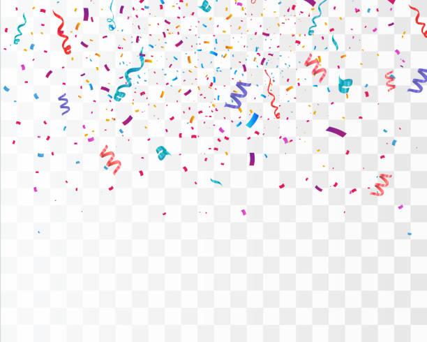stockillustraties, clipart, cartoons en iconen met kleurrijke heldere confetti geïsoleerd op transparante achtergrond. feestelijke vectorillustratie - confetti