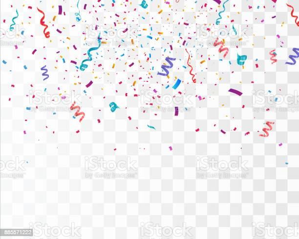 Many Falling Colorful Tiny Confetti And Ribbon Isolated On Transparent Background. Vector illustration