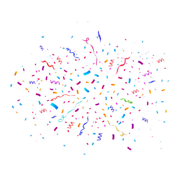 colorful bright confetti isolated on transparent background. vector illustration - confetti stock illustrations