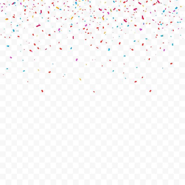 stockillustraties, clipart, cartoons en iconen met kleurrijke heldere confetti geïsoleerd op transparante achtergrond. vectorillustratie - confetti