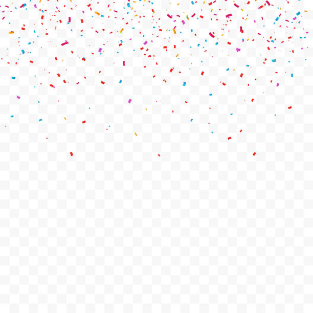 colorful bright confetti isolated on transparent background. vector illustration - blue clipart stock illustrations
