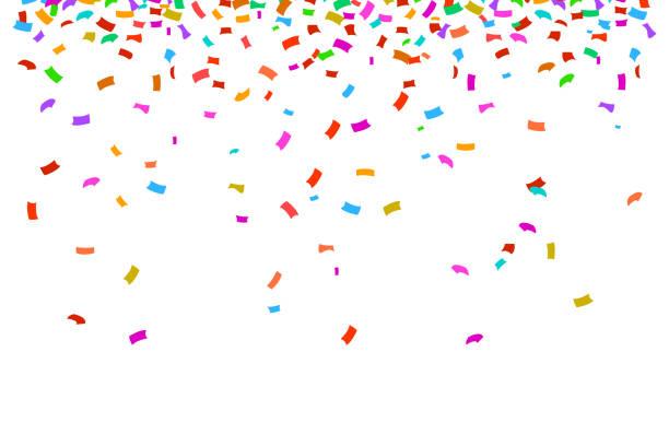 stockillustraties, clipart, cartoons en iconen met kleurrijke heldere confetti geïsoleerd op witte achtergrond. - confetti