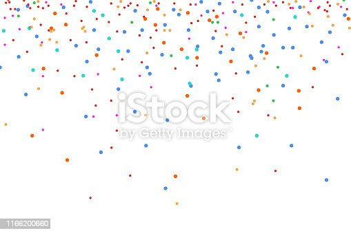 Colorful bright confetti isolated on white background.