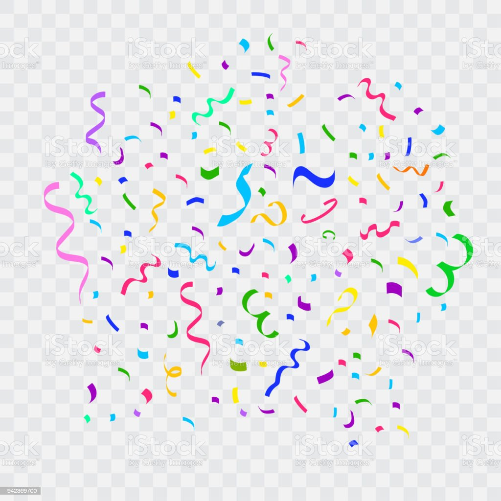 Colorful Bright Falling Confetti And Ribbon Stock Illustration - Download  Image Now