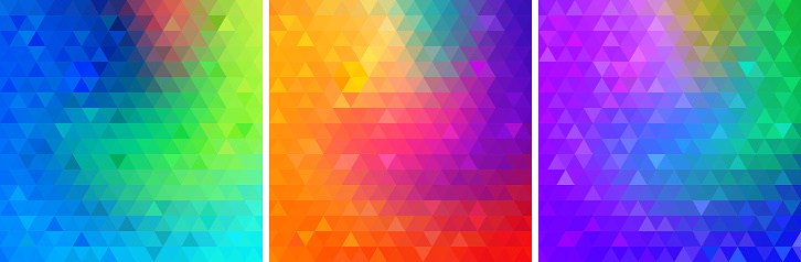 Colorful bright geometric backgrounds set. Triangular glowing patterns collection. Vector illustration.