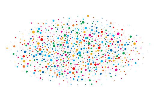 다채로운 밝은 무지개 색 타원형 구름 색종이 라운드 흰색 배경에 고립 된 논문 생일 서식 파일 그리고 휴가 디자인 요소입니다 밝은 새 해 2018 카드 배경입니다 2018년에 대한 스톡 벡터 아트 및 기타 이미지