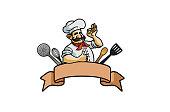 Colorful Brown Ribbon Chef Utensils Logo Design Illustration