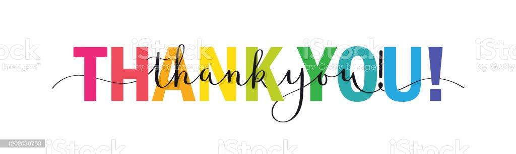 Спасибо! красочный баннер каллиграфии кисти - Векторная графика Thank You - английское словосочетание роялти-фри