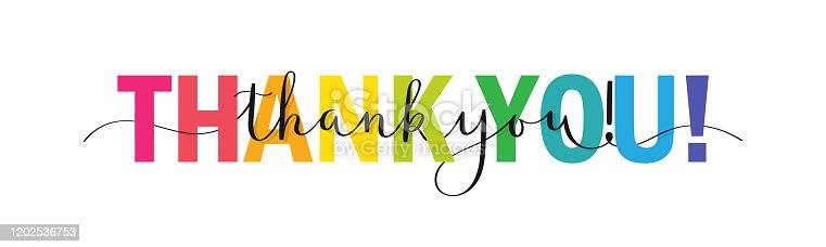 THANK YOU! colorful vector brush calligraphy banner with swashes