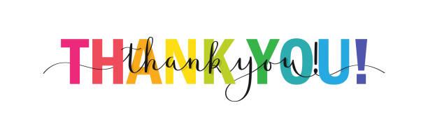 спасибо! красочный баннер каллиграфии кисти - thank you stock illustrations