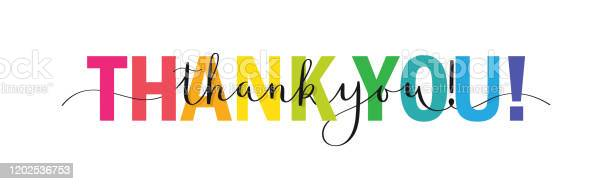 Спасибо Красочный Баннер Каллиграфии Кисти — стоковая векторная графика и другие изображения на тему Thank You - английское словосочетание