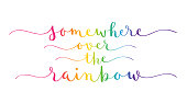 SOMEWHERE OVER THE RAINBOW rainbow gradient vector brush calligraphy banner with swashes
