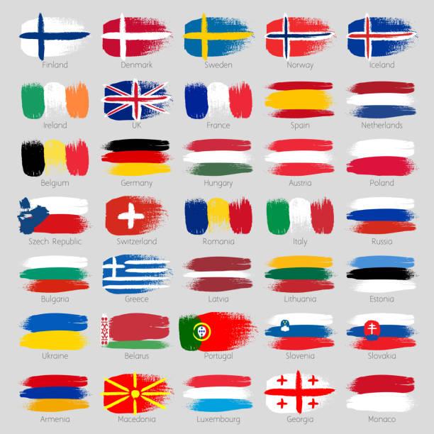 bunte brush strokes bemalten europäischen länder-flaggen-set - flagge irland stock-grafiken, -clipart, -cartoons und -symbole