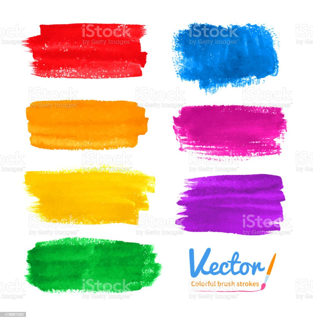 Colorful brush strokes. vector art illustration