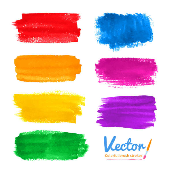 ilustrações, clipart, desenhos animados e ícones de colorido pinceladas. - planos de fundo borrados