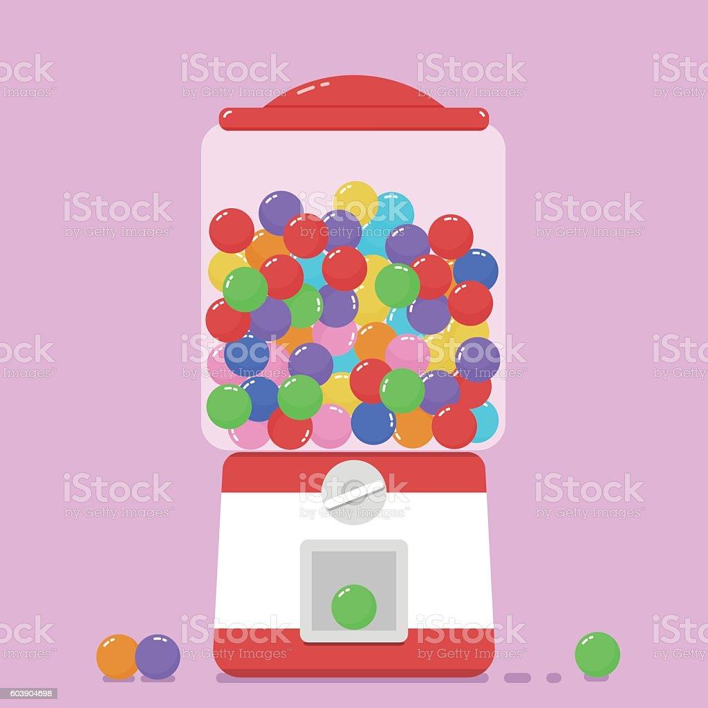 Colorful bubblegum gumball machine. vector art illustration