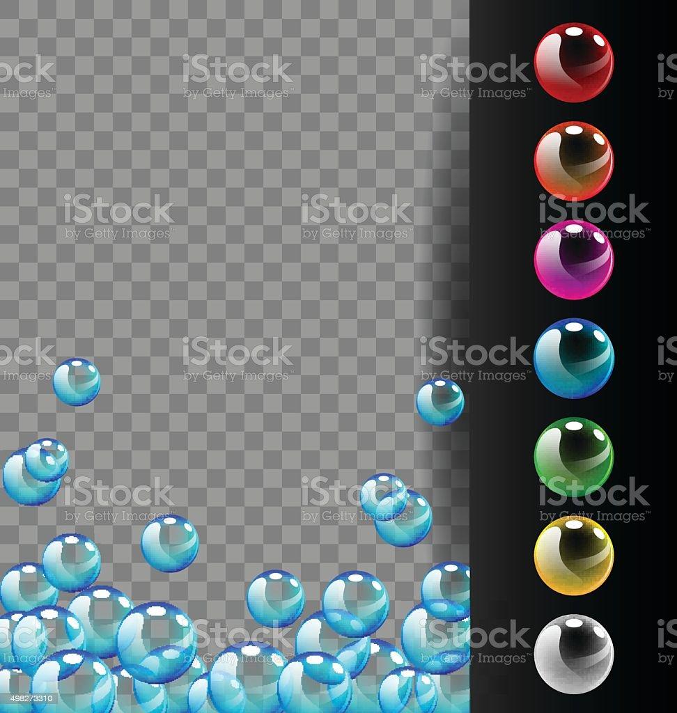 Colorful bubbles set on translucent and black background vector art illustration