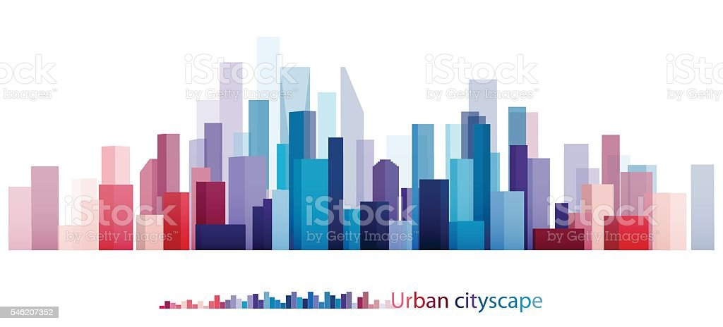 Colorful Building and City, Abstract of city, The image twilight in city. vector art illustration