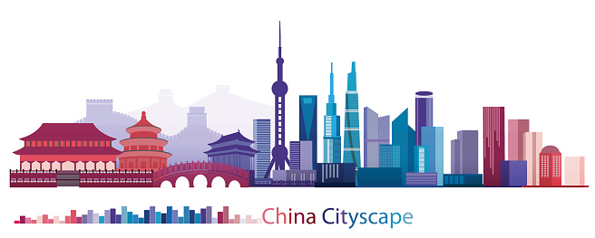 Colorful Building and City of China, Abstract China Building of ancient and modern