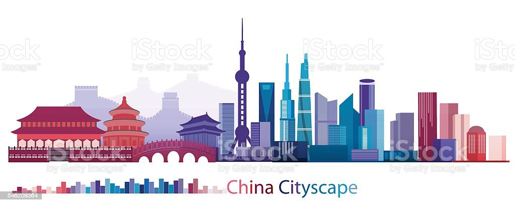 Colorful Building and City of China, Abstract China Building of ancient and modern vector art illustration
