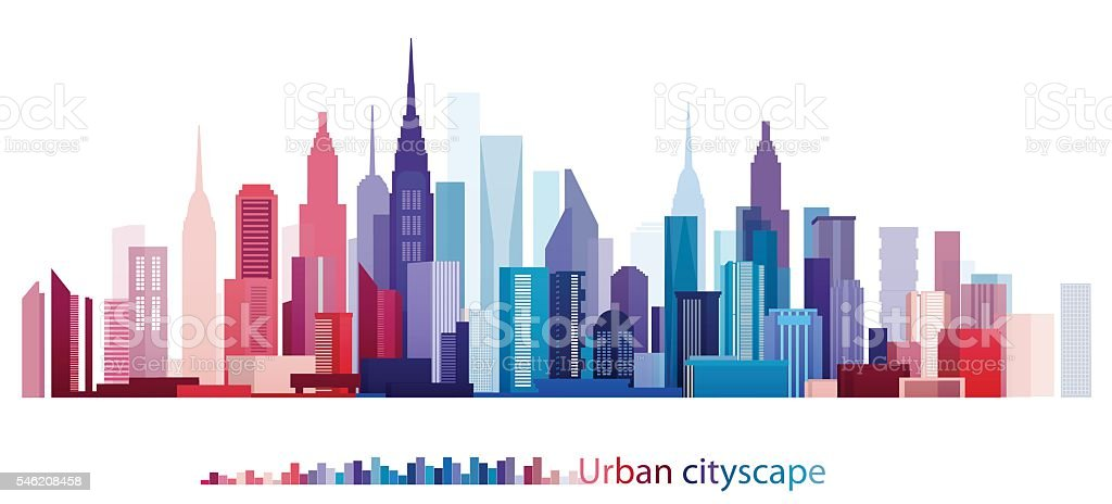 Colorful Building and City, Urban cityscape, Abstract City scene, Twilight in city vector art illustration