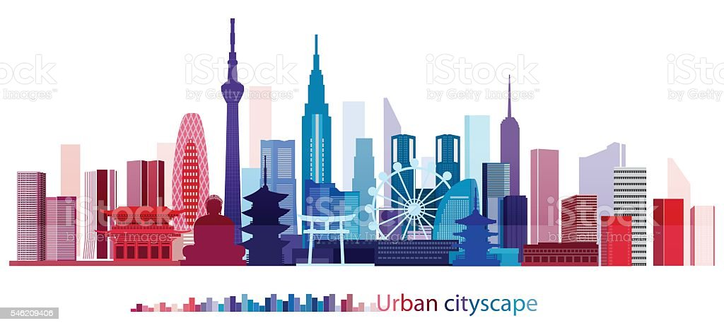 Colorful Building and City, Urban cityscape of Japan, Twilight in city vector art illustration