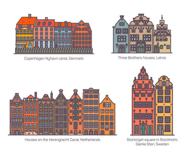 bildbanksillustrationer, clip art samt tecknat material och ikoner med färgglada byggnader på canal, square of europe - stockholm