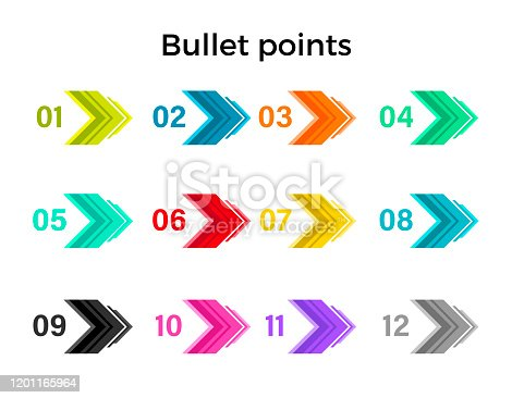 Colorful direction bullet points in shape of an arrows numbered by color from one to twelve. Isolated vector objects on white background