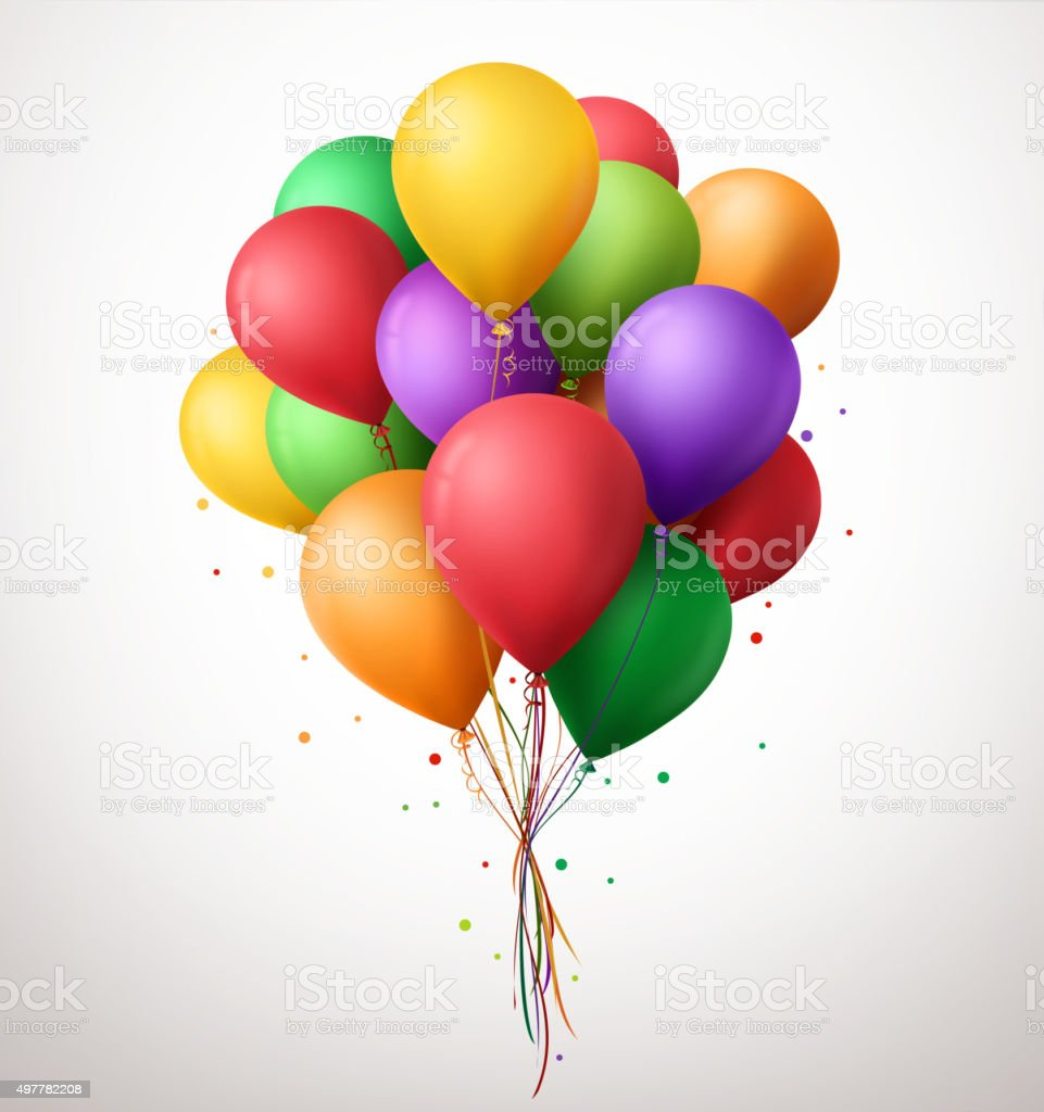 Colorful Bunch of Birthday Balloons Flying for Party and Celebrations vector art illustration