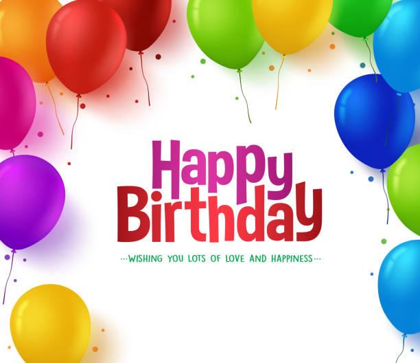 Bекторная иллюстрация Красочный букет из воздушных шарах фон для Happy Birthday Party