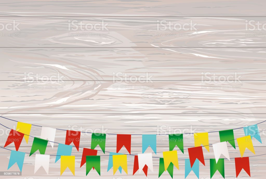 Colorful Bunting And Garland Set Greeting Card Or Birthday