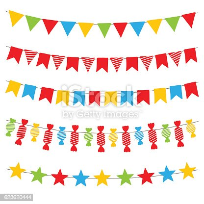 Colorful bunting flags and garlands, hand drawn vector.