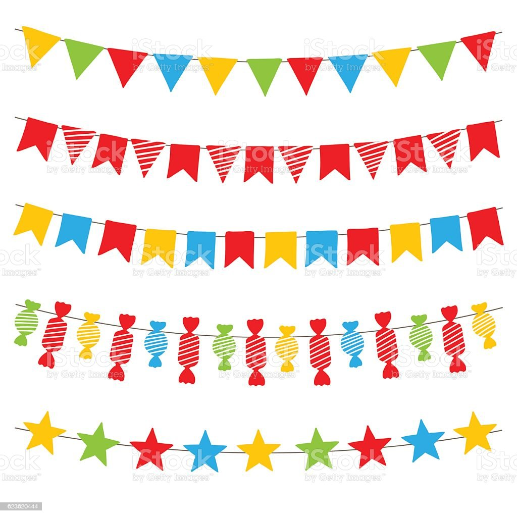 Colorful bunting flags and garlands, vector. vector art illustration