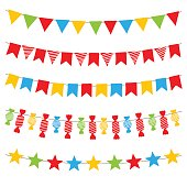 Colorful bunting flags and garlands, vector.