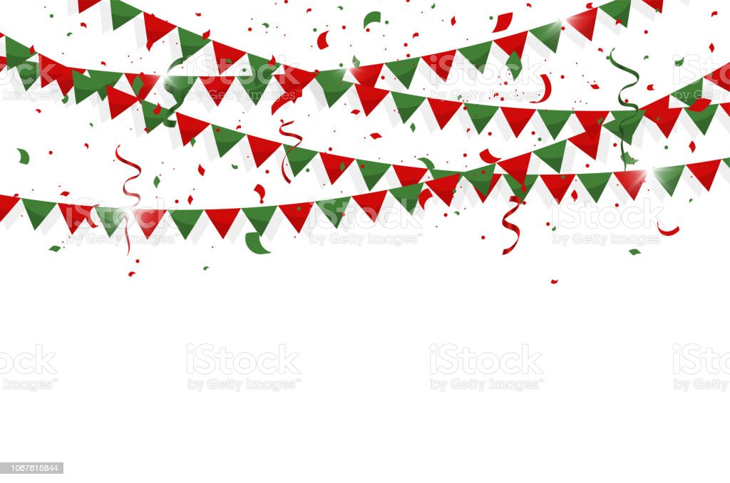 Colorful Bunting Flags With Confetti And Ribbons For Merry Christmas Birthday Celebration Carnival Anniversary And Holiday Party On White Background
