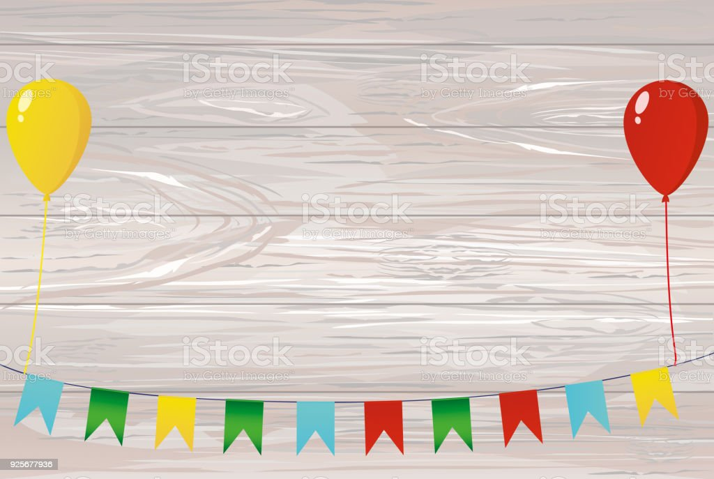 Colorful Bunting On A Rope With Balloons Garland Of Flags Greeting