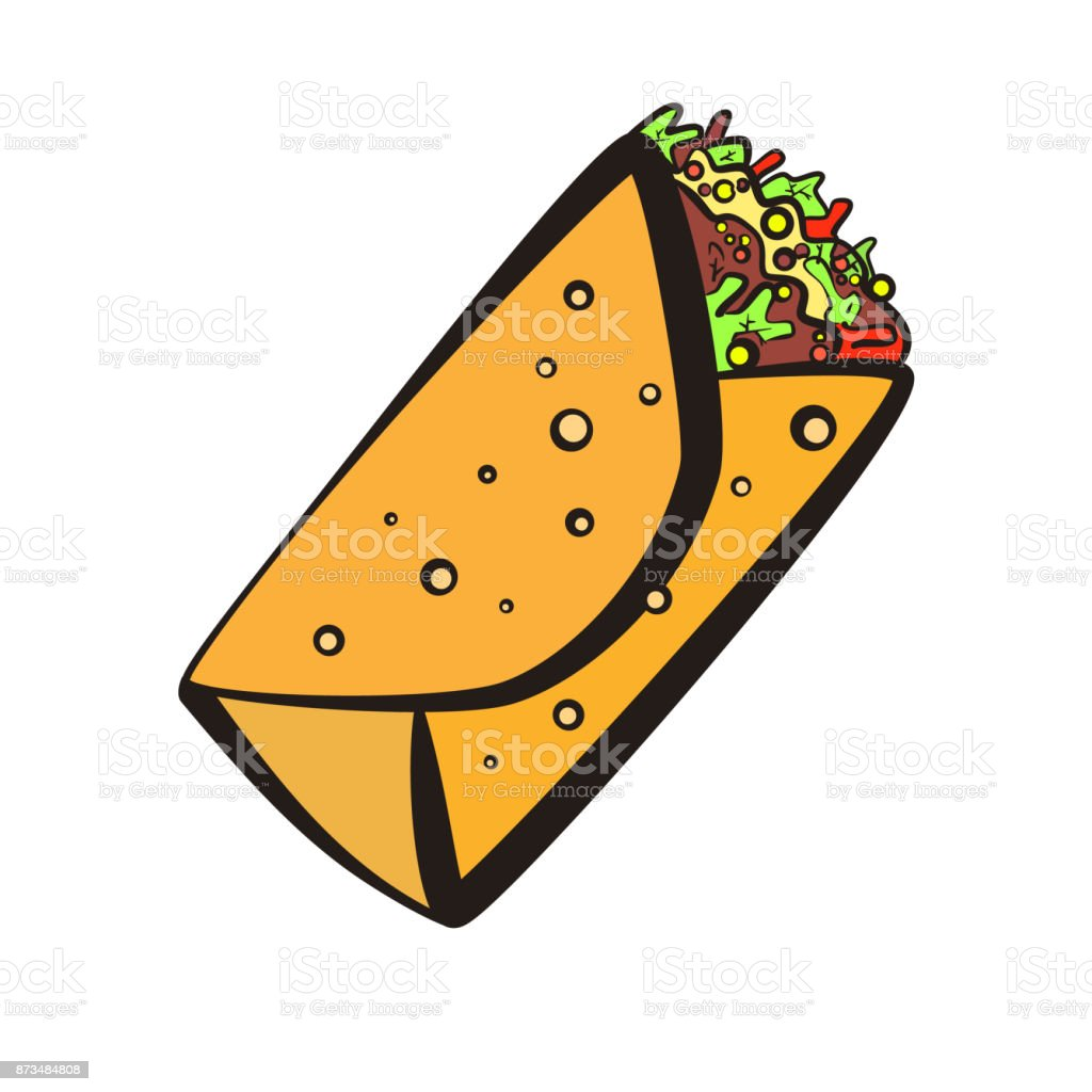 Colorful burrito symbol with black outline vector art illustration