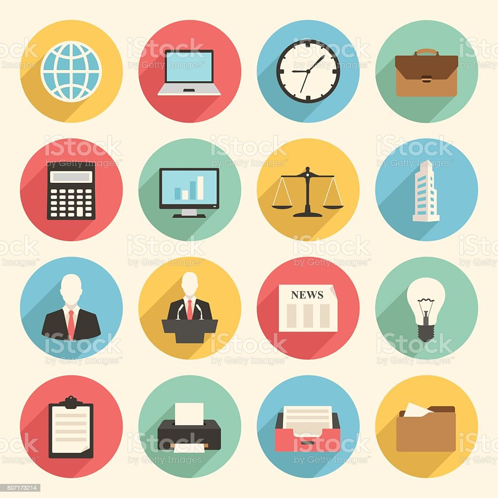 Colorful business and office flat design icons set vector art illustration