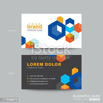 colorful business card design with isometric cube graphic background. Clean and modern name card design template. Youthful dynamic concept business card