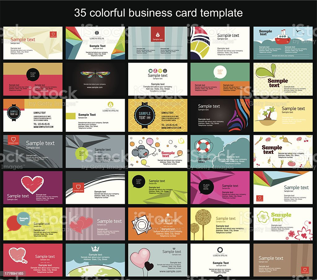Colorful business card template vector art illustration