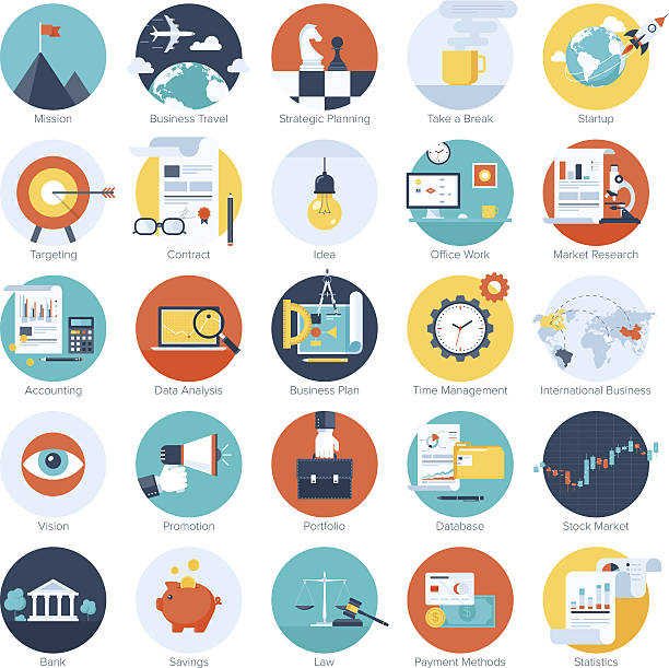 colorful business icons - financial planning stock illustrations, clip art, cartoons, & icons