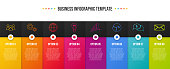 Colorful business infographic with icons. Vector