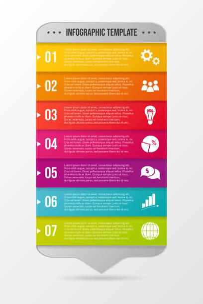Infografía de negocios colorida con iconos. Vector - ilustración de arte vectorial