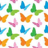 Vector seamless pattern of colorful butterflies.