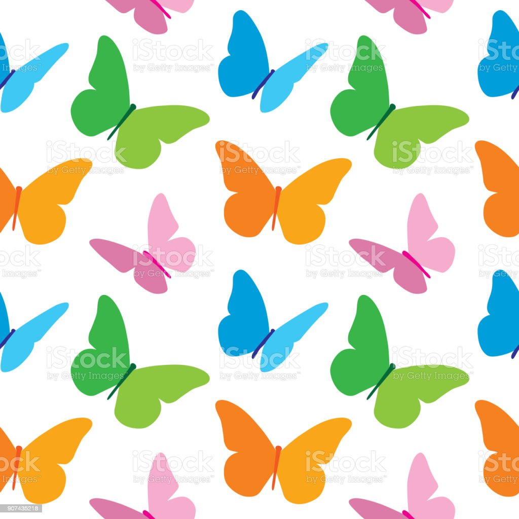 Colorful Butterflies Pattern vector art illustration