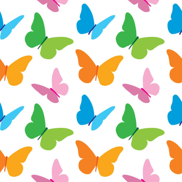 colorful butterflies pattern - butterfly stock illustrations