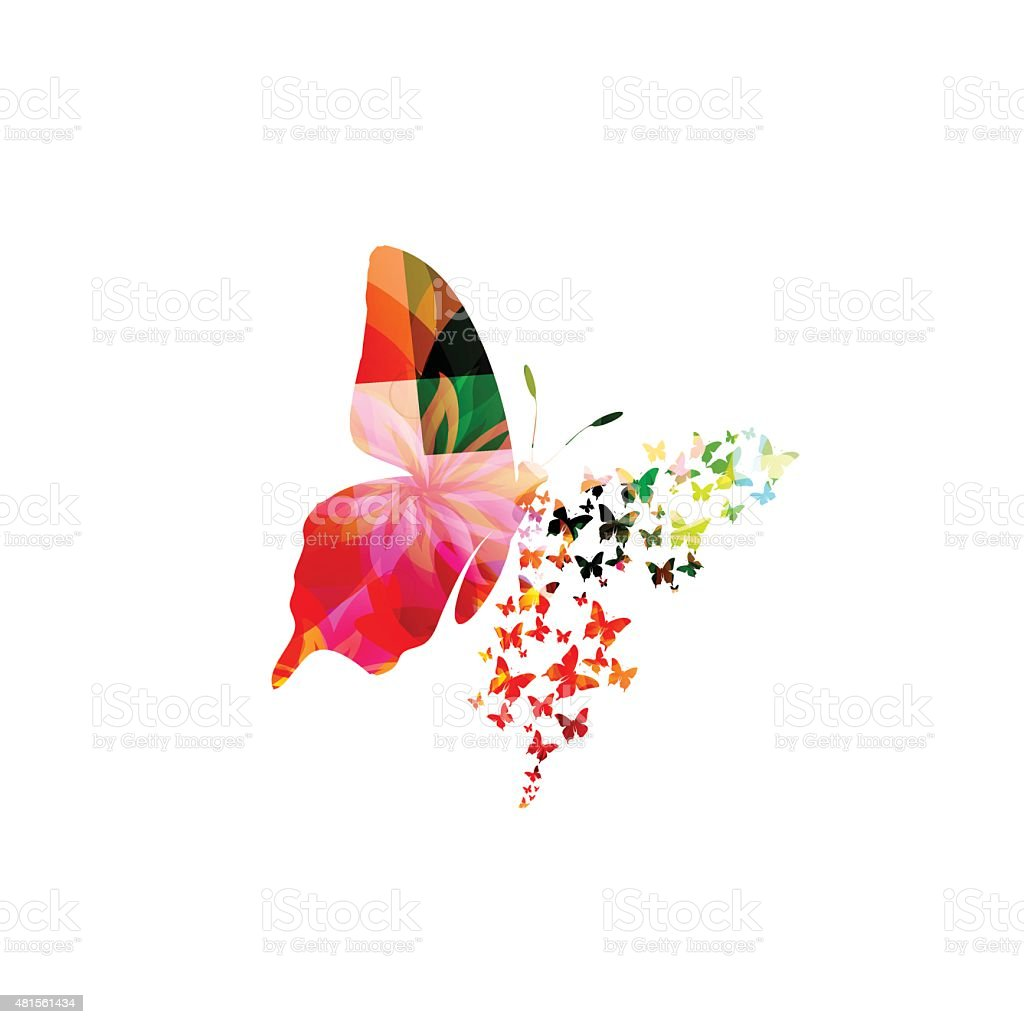 Colorful butterfly design vector art illustration