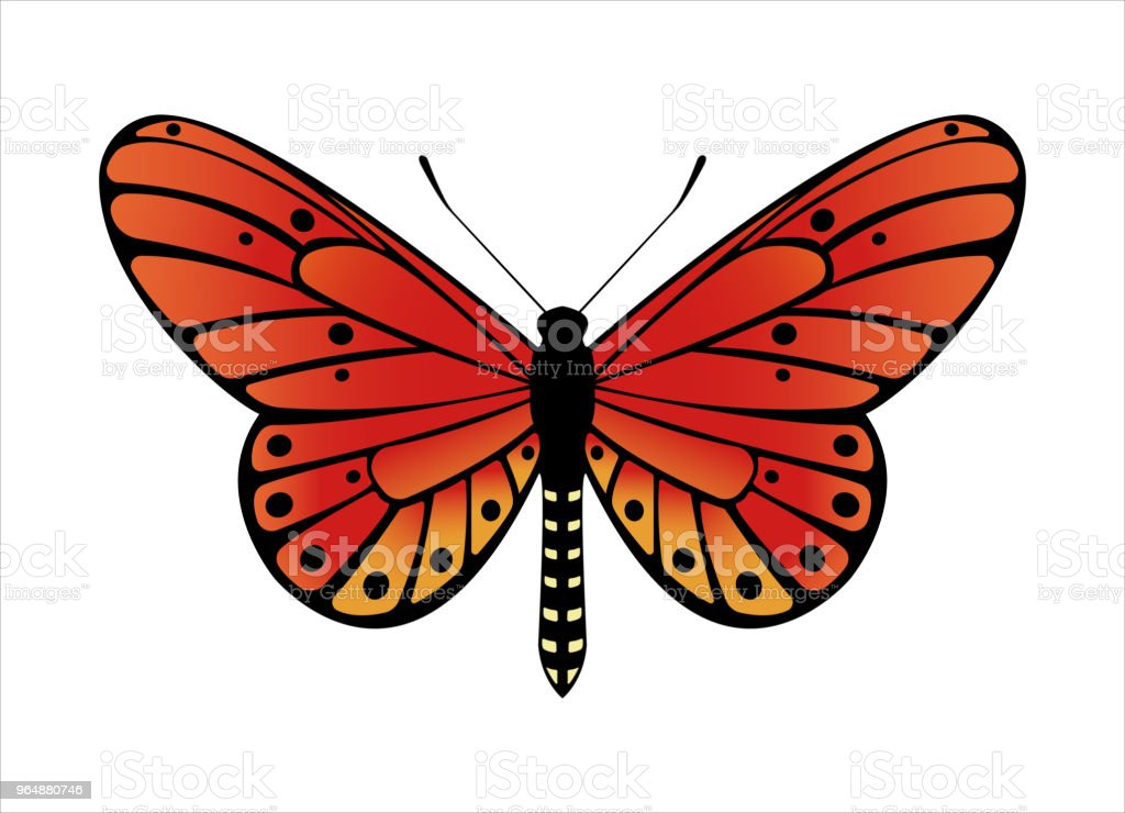 五顏六色的蝴蝶。向量插圖 - 免版稅側影圖庫向量圖形