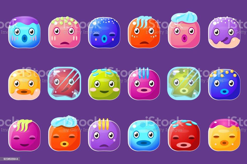 Ilustración de Asist De Emoticonos De Botones Coloridos Con Aristas ...